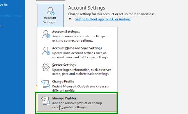 Change Profile Settings To Sync Outlook