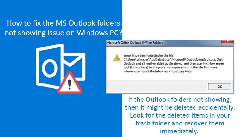 MS Outlook folders not showing