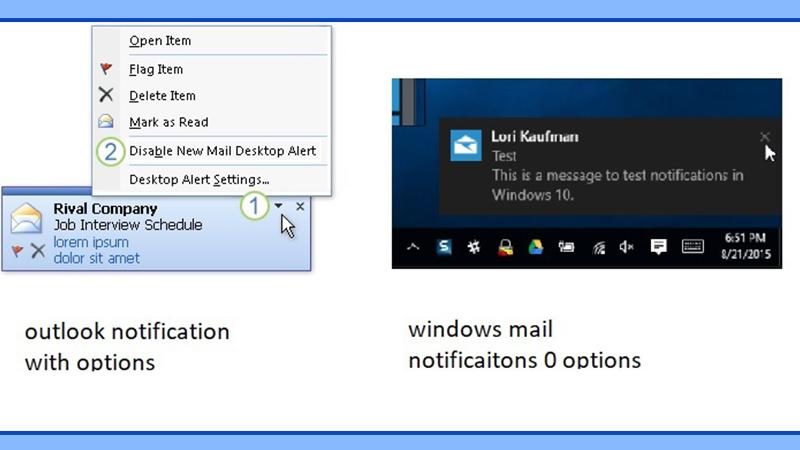 Activate Outlook notification alert in Windows 10 settings