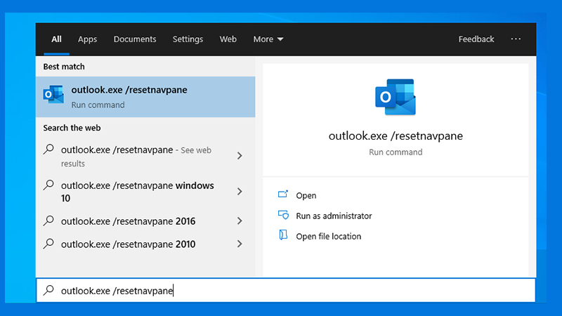 Reset the navigation panel via Outlook.exe/resetnavpane