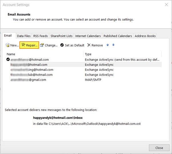 Repair Or Reinstall Outlook App