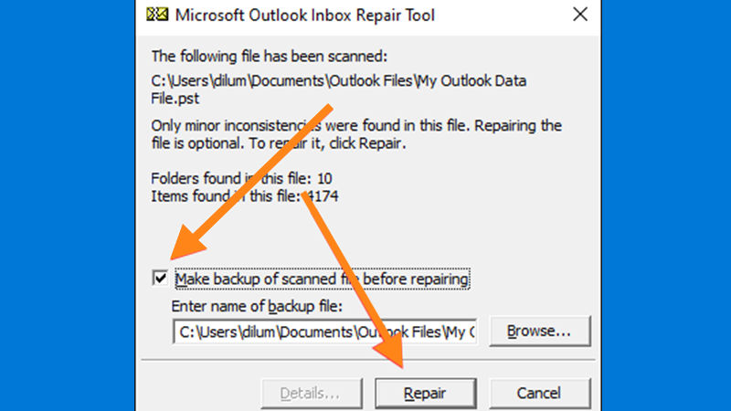 Repair corrupted PST files