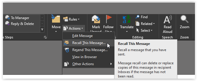 Recall an Email in Outlook - 2