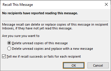 Recall an Email in Outlook - 3