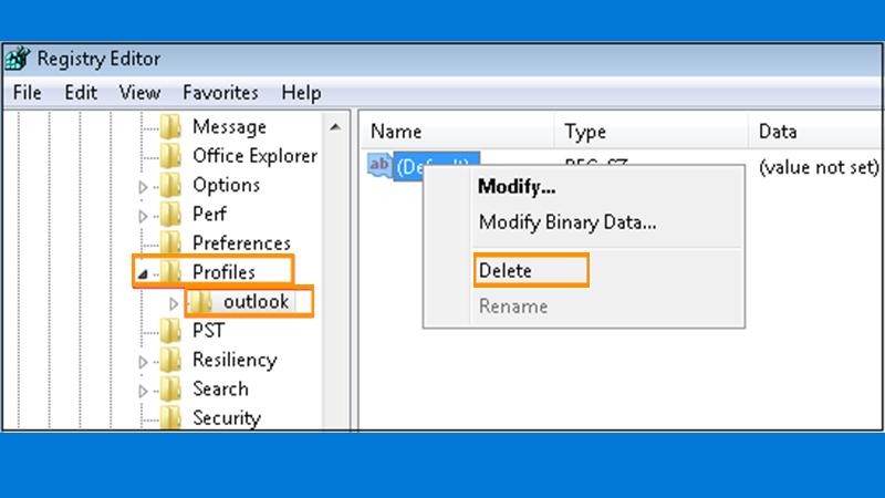 Outlook Profile Folder Delete