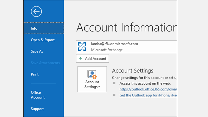 add the email account to MS Outlook