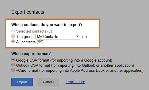 Choose the Options to Export