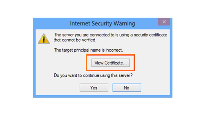 Outlook certificate error