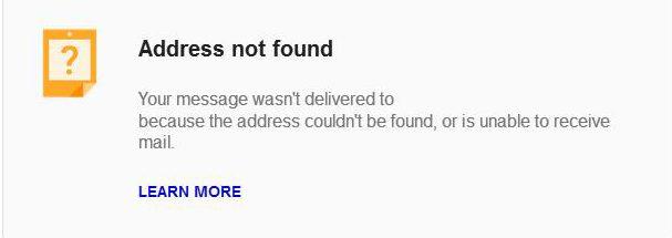 Gmail address not found 2